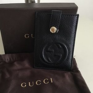 Gucci card case vguc black pebbled leather